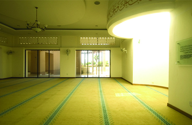View from the prayer hall with the lighted mimbar..jpg