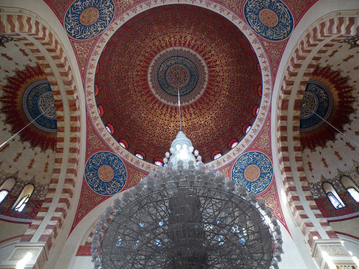 Beirut 11 Mohammed Al-Amin Mosque Chandelier And Ceiling.jpg